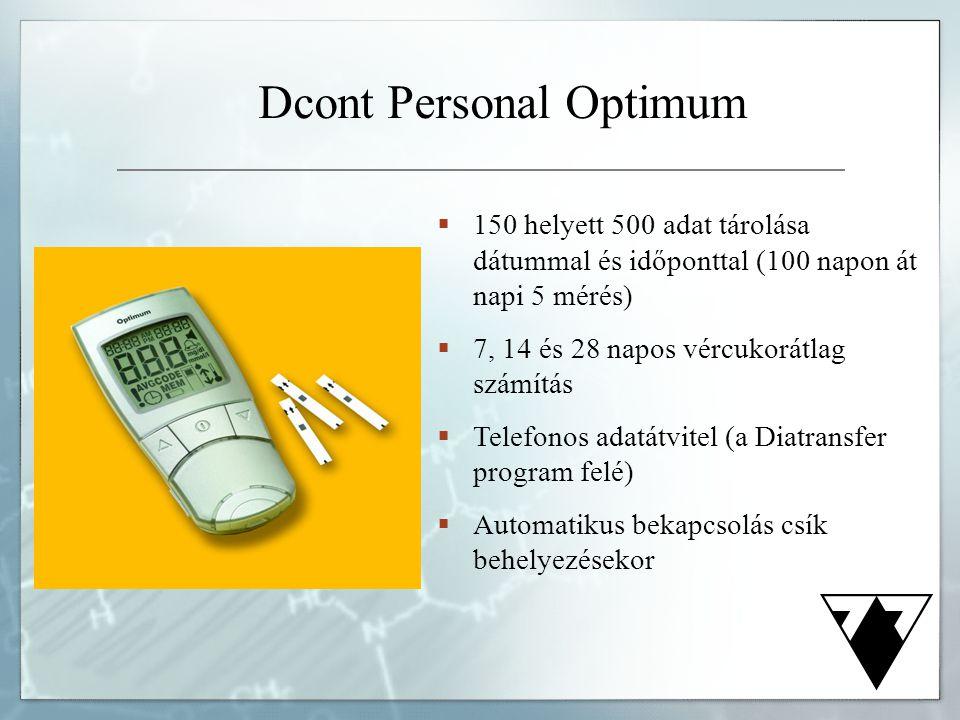 Dcont Personal Optimum  150 helyett 500 adat tárolása dátummal és időponttal (100 napon át napi 5 mérés)  7, 14 és 28 napos vércukorátlag számítás 