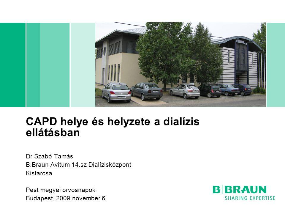 CAPD helye és helyzete a dialízis ellátásban Dr Szabó Tamás B.Braun Avitum 14.sz Dialízisközpont Kistarcsa Pest megyei orvosnapok Budapest, 2009.november 6.
