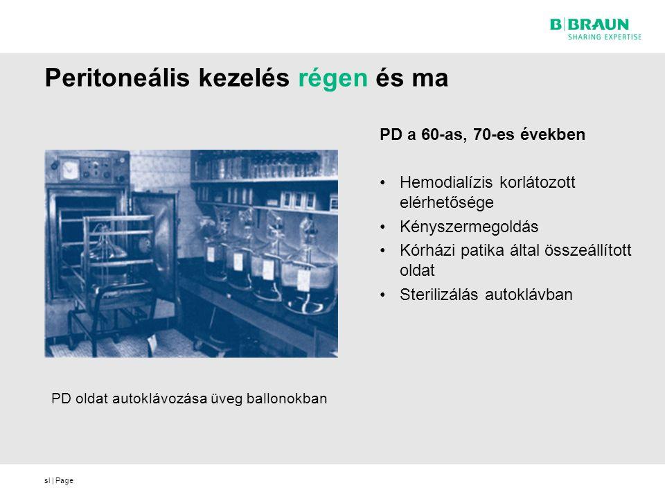 sl | Page Peritoneális kezelés régen és ma PD a 60-as, 70-es években Hemodialízis korlátozott elérhetősége Kényszermegoldás Kórházi patika által összeállított oldat Sterilizálás autoklávban PD oldat autoklávozása üveg ballonokban