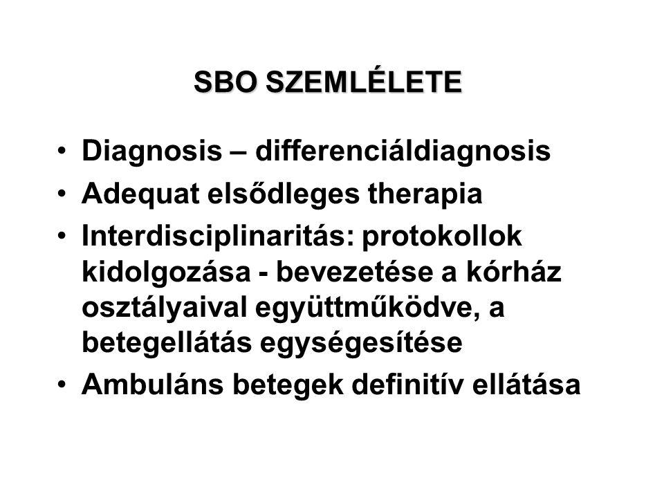 SBO SZEMLÉLETE Diagnosis – differenciáldiagnosis Adequat elsődleges therapia Interdisciplinaritás: protokollok kidolgozása - bevezetése a kórház osztályaival együttműködve, a betegellátás egységesítése Ambuláns betegek definitív ellátása