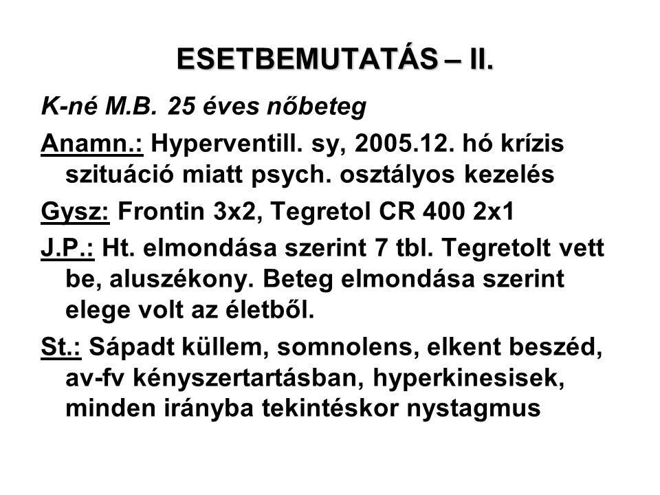 ESETBEMUTATÁS – II. K-né M.B. 25 éves nőbeteg Anamn.: Hyperventill. sy, 2005.12. hó krízis szituáció miatt psych. osztályos kezelés Gysz: Frontin 3x2,
