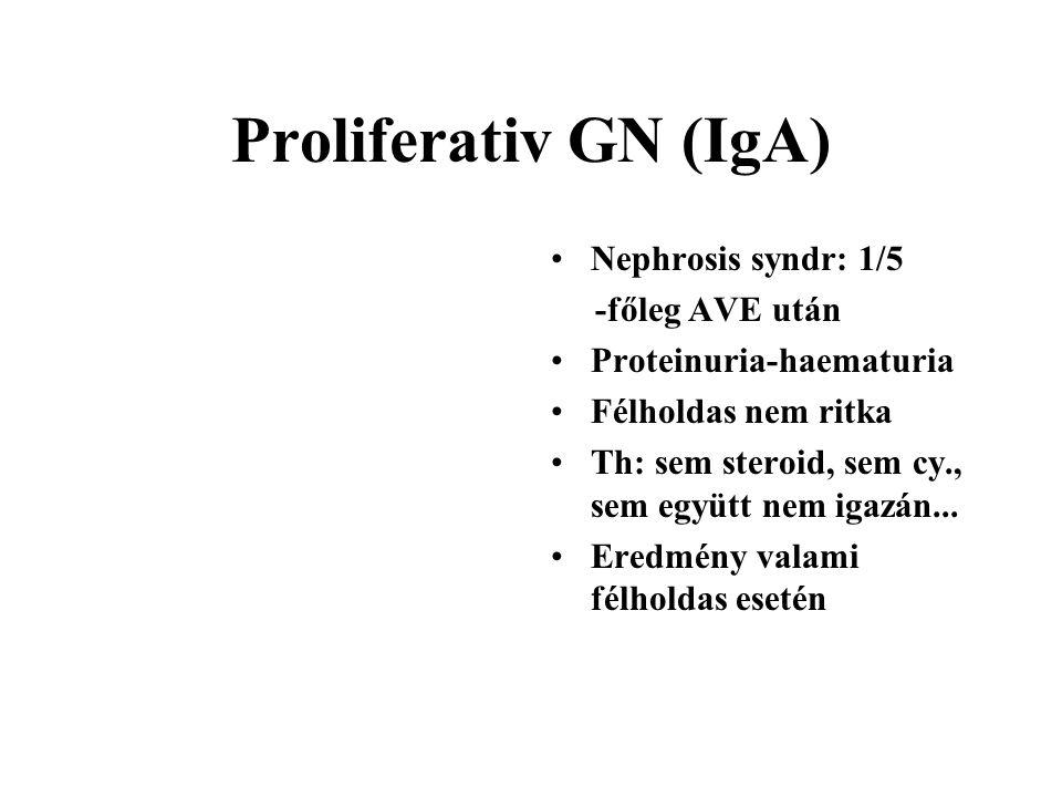 Proliferativ GN (IgA) Nephrosis syndr: 1/5 -főleg AVE után Proteinuria-haematuria Félholdas nem ritka Th: sem steroid, sem cy., sem együtt nem igazán.