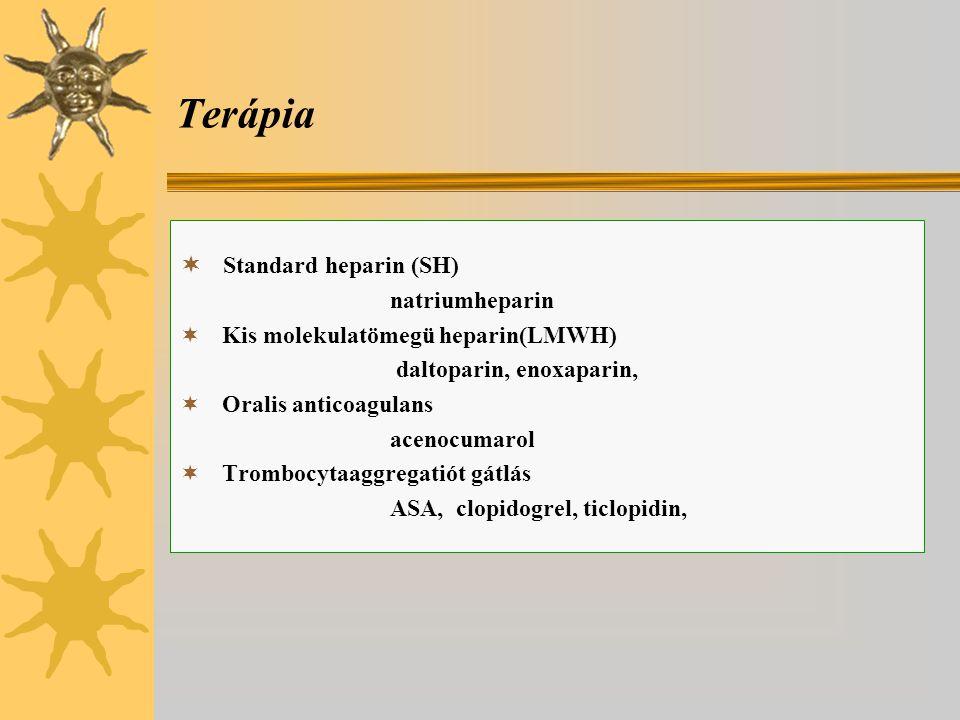 Terápia  Standard heparin (SH) natriumheparin  Kis molekulatömegü heparin(LMWH) daltoparin, enoxaparin,  Oralis anticoagulans acenocumarol  Trombocytaaggregatiót gátlás ASA, clopidogrel, ticlopidin,