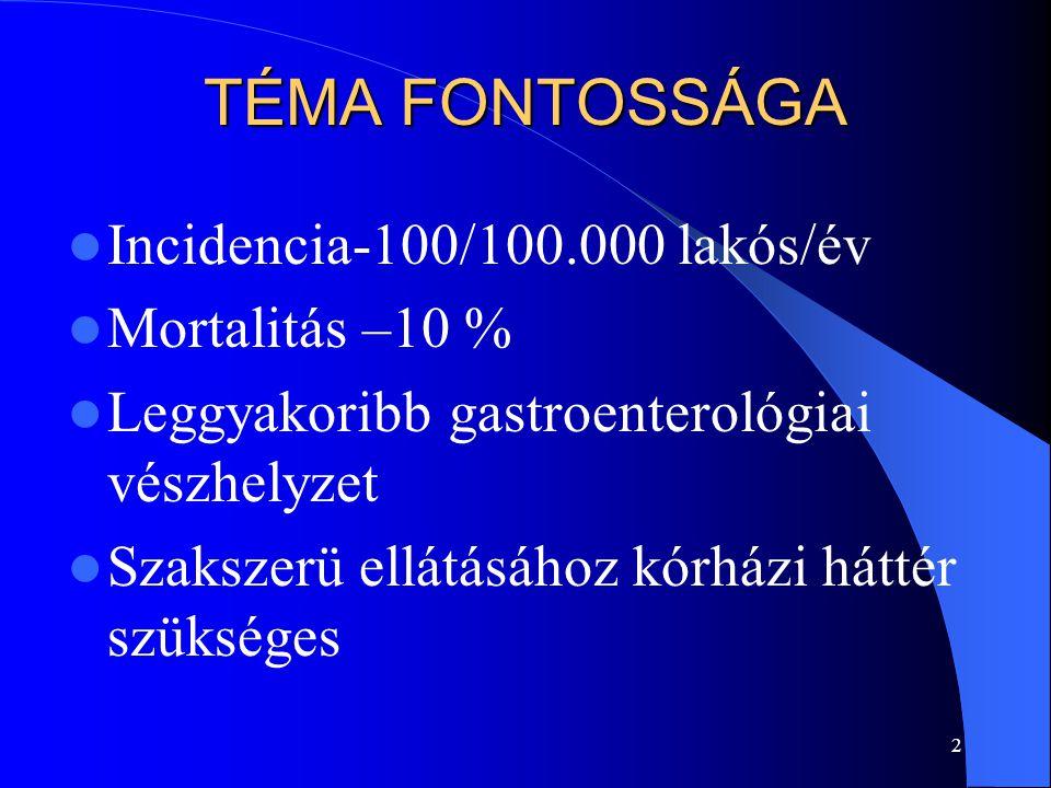 2 TÉMA FONTOSSÁGA Incidencia-100/100.000 lakós/év Mortalitás –10 % Leggyakoribb gastroenterológiai vészhelyzet Szakszerü ellátásához kórházi háttér sz
