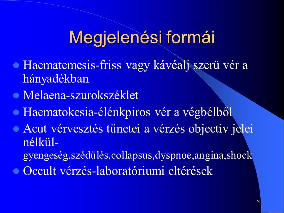 3 Megjelenési formái Haematemesis-friss vagy kávéalj szerü vér a hányadékban Melaena-szurokszéklet Haematokesia-élénkpiros vér a végbélből Acut vérves