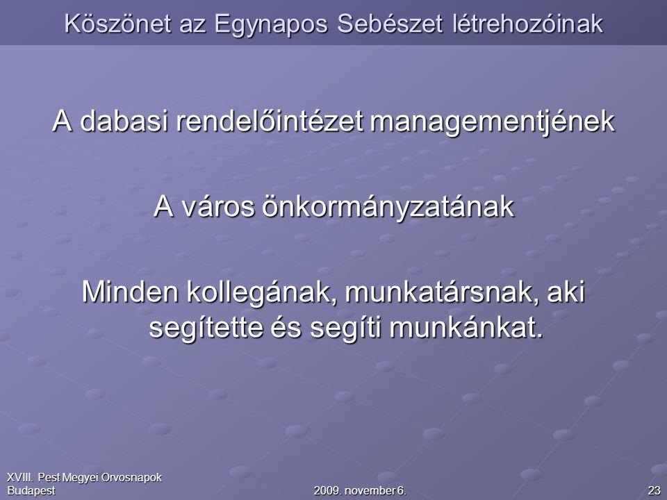 232009. november 6. XVIII. Pest Megyei Orvosnapok Budapest Köszönet az Egynapos Sebészet létrehozóinak A dabasi rendelőintézet managementjének A város