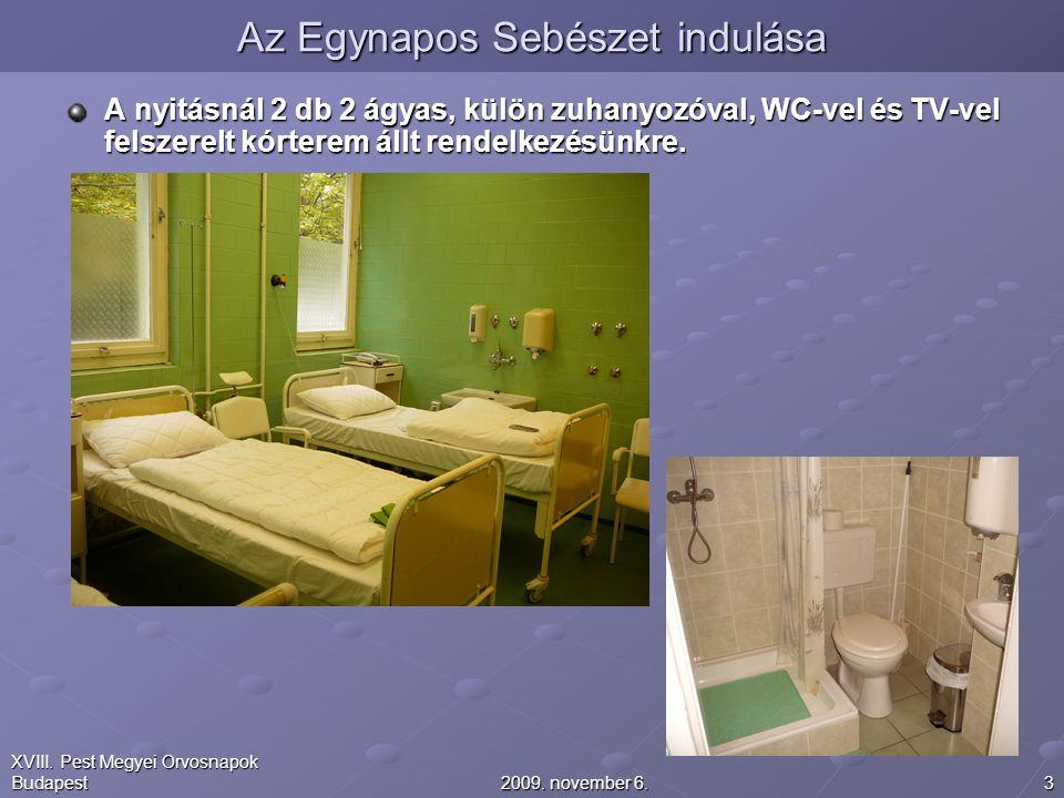 32009. november 6. XVIII. Pest Megyei Orvosnapok Budapest A nyitásnál 2 db 2 ágyas, külön zuhanyozóval, WC-vel és TV-vel felszerelt kórterem állt rend