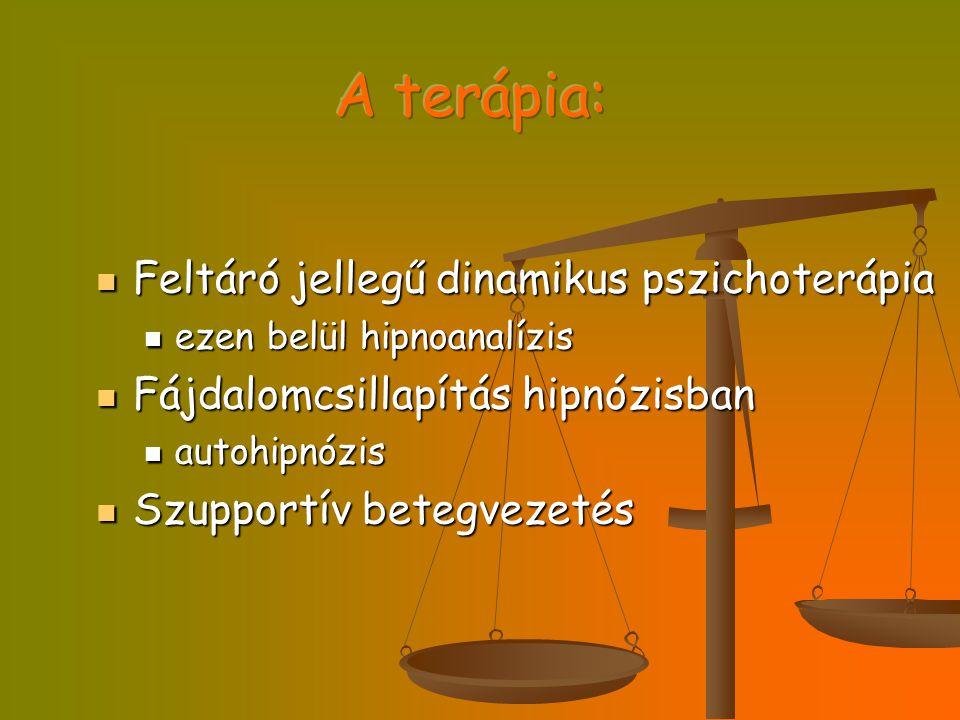 Feltáró jellegű dinamikus pszichoterápia Feltáró jellegű dinamikus pszichoterápia ezen belül hipnoanalízis ezen belül hipnoanalízis Fájdalomcsillapítá