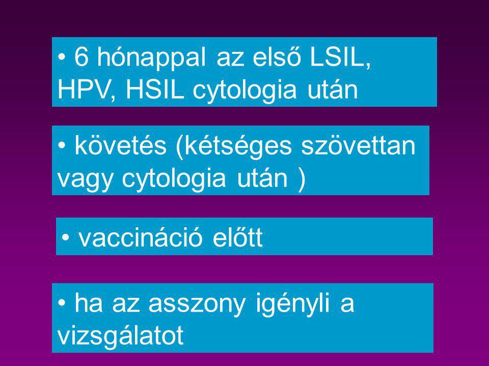 6 hónappal az első LSIL, HPV, HSIL cytologia után vaccináció előtt ha az asszony igényli a vizsgálatot követés (kétséges szövettan vagy cytologia után
