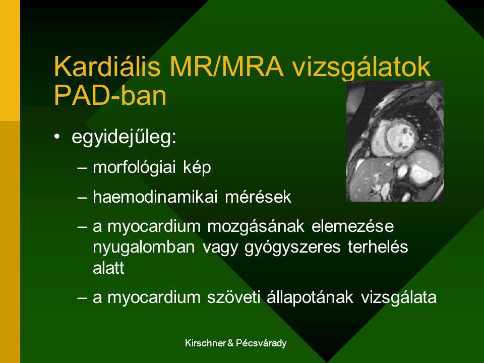 Kirschner & Pécsvárady Kardiális MR/MRA vizsgálatok PAD-ban egyidejűleg: –morfológiai kép –haemodinamikai mérések –a myocardium mozgásának elemezése nyugalomban vagy gyógyszeres terhelés alatt –a myocardium szöveti állapotának vizsgálata