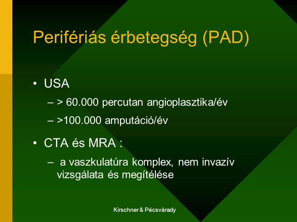 Kirschner & Pécsvárady Perifériás érbetegség (PAD) USA –> 60.000 percutan angioplasztika/év –>100.000 amputáció/év CTA és MRA : – a vaszkulatúra kompl