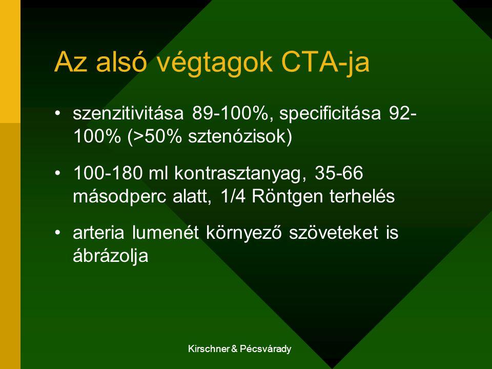 Kirschner & Pécsvárady Az alsó végtagok CTA-ja szenzitivitása 89-100%, specificitása 92- 100% (>50% sztenózisok) 100-180 ml kontrasztanyag, 35-66 másodperc alatt, 1/4 Röntgen terhelés arteria lumenét környező szöveteket is ábrázolja