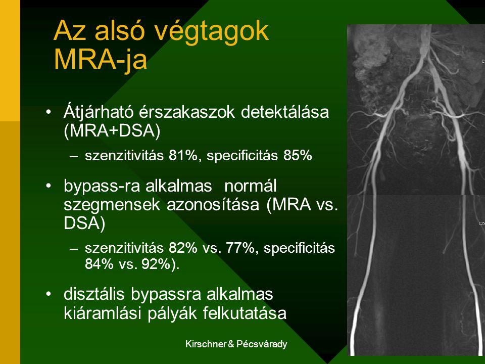 Kirschner & Pécsvárady Arteria renalis MRA-ja preoperativ tervezés Gadolinium: jóval kevésbé nephrotoxikus szenzitivitás 90-100%, specificitás 76-94% kevésbé alkalmas: media hyperplasiában nem alkalmas: stent beütetést kiállott beteg vizsgálatára (az in stent restenosis ábrázolásának hiánya miatt)
