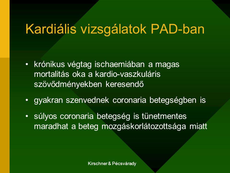 Kirschner & Pécsvárady Kardiális vizsgálatok PAD-ban krónikus végtag ischaemiában a magas mortalitás oka a kardio-vaszkuláris szövődményekben keresendő gyakran szenvednek coronaria betegségben is súlyos coronaria betegség is tünetmentes maradhat a beteg mozgáskorlátozottsága miatt