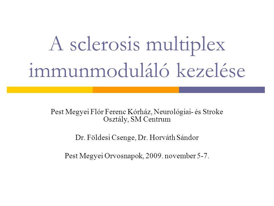 A sclerosis multiplex immunmoduláló kezelése Pest Megyei Flór Ferenc Kórház, Neurológiai- és Stroke Osztály, SM Centrum Dr. Földesi Csenge, Dr. Horvát