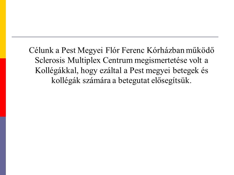 Célunk a Pest Megyei Flór Ferenc Kórházban működő Sclerosis Multiplex Centrum megismertetése volt a Kollégákkal, hogy ezáltal a Pest megyei betegek és