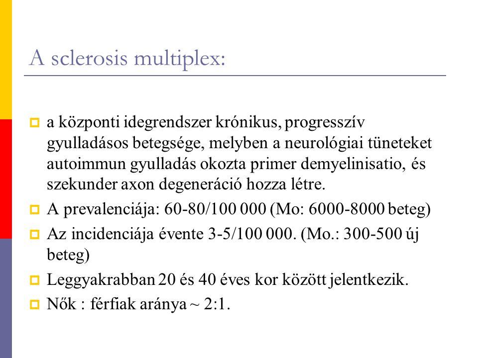 A sclerosis multiplex:  a központi idegrendszer krónikus, progresszív gyulladásos betegsége, melyben a neurológiai tüneteket autoimmun gyulladás okoz