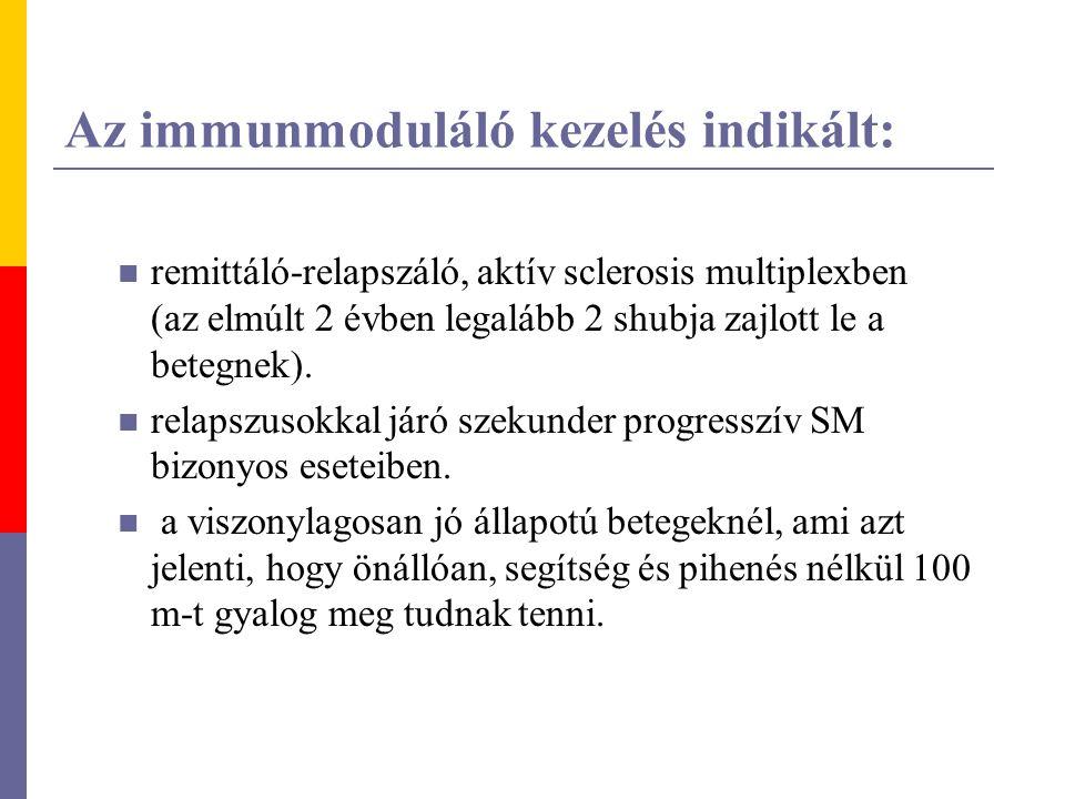 Az immunmoduláló kezelés indikált: remittáló-relapszáló, aktív sclerosis multiplexben (az elmúlt 2 évben legalább 2 shubja zajlott le a betegnek). rel