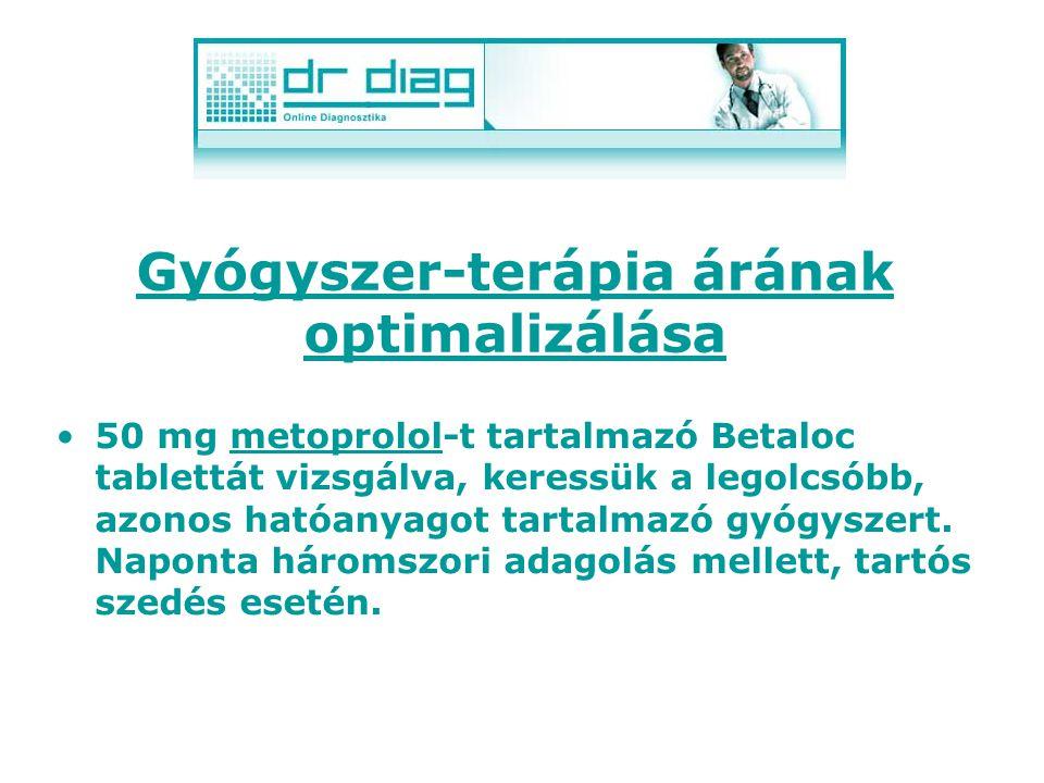 A DrDiag rendszer támogatja a gyógyszer-terápia árának optimalizálását