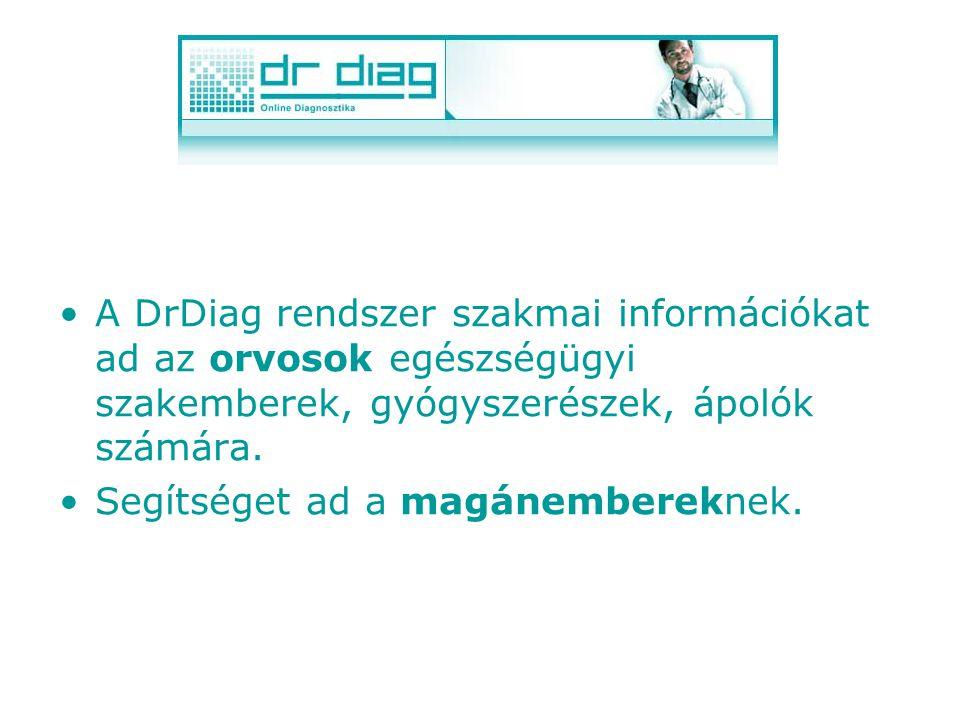 A DrDiag rendszer szakmai információkat ad az orvosok egészségügyi szakemberek, gyógyszerészek, ápolók számára.