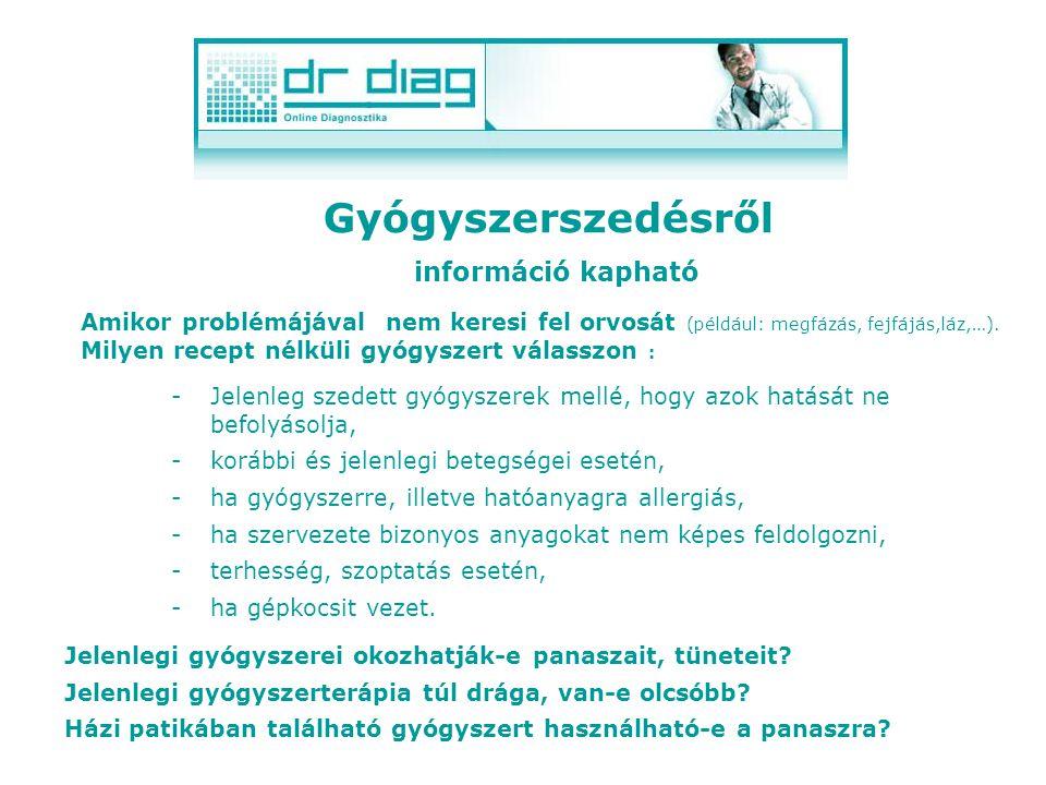 Gyógyszerszedésről információ kapható -Jelenleg szedett gyógyszerek mellé, hogy azok hatását ne befolyásolja, -korábbi és jelenlegi betegségei esetén, -ha gyógyszerre, illetve hatóanyagra allergiás, -ha szervezete bizonyos anyagokat nem képes feldolgozni, -terhesség, szoptatás esetén, -ha gépkocsit vezet.
