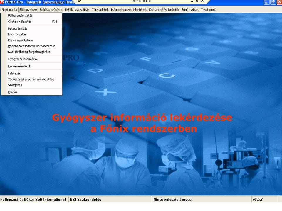 DrDiag rendszer beillesztése a napi munkába A betegnyilvántartó rendszer tartalmazza a beteg állapotával, gyógyszeres-terápiájával kapcsolatos informá