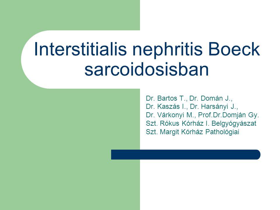 AKUT INTERSTITIALIS NEPHRITIS Különböző gyógyszerek, infectiók, immunológiai betegségek által kiváltott, dominálóan az interstitiumot érintő betegség, mely az akut veseelégtelenség 10-20%-áért felelős.