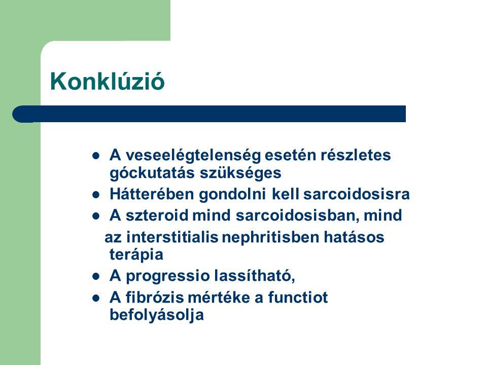 Konklúzió A veseelégtelenség esetén részletes góckutatás szükséges Hátterében gondolni kell sarcoidosisra A szteroid mind sarcoidosisban, mind az inte