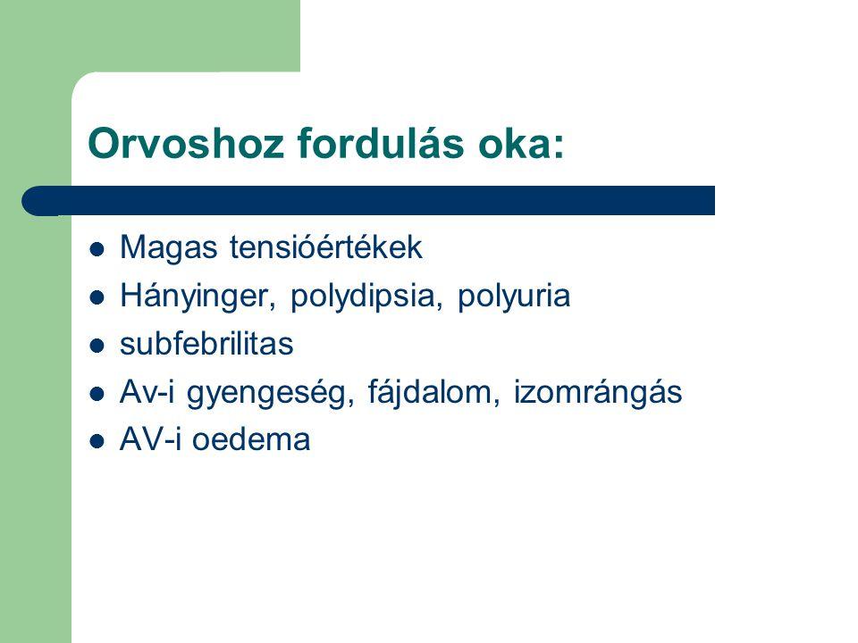 Orvoshoz fordulás oka: Magas tensióértékek Hányinger, polydipsia, polyuria subfebrilitas Av-i gyengeség, fájdalom, izomrángás AV-i oedema