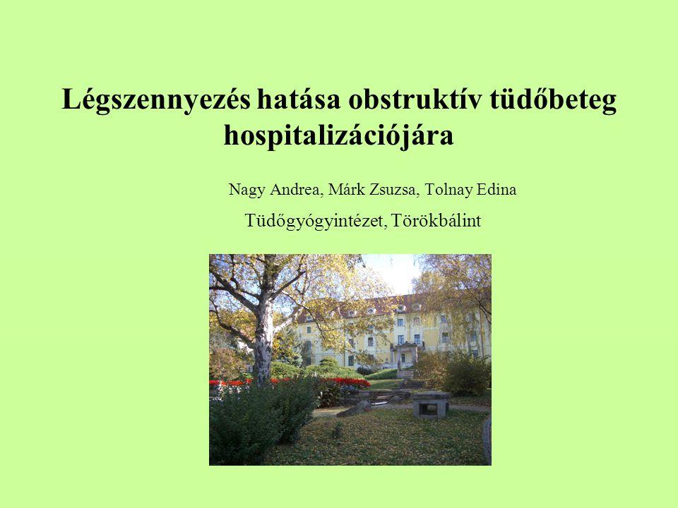 Légszennyezés hatása obstruktív tüdőbeteg hospitalizációjára Nagy Andrea, Márk Zsuzsa, Tolnay Edina Tüdőgyógyintézet, Törökbálint