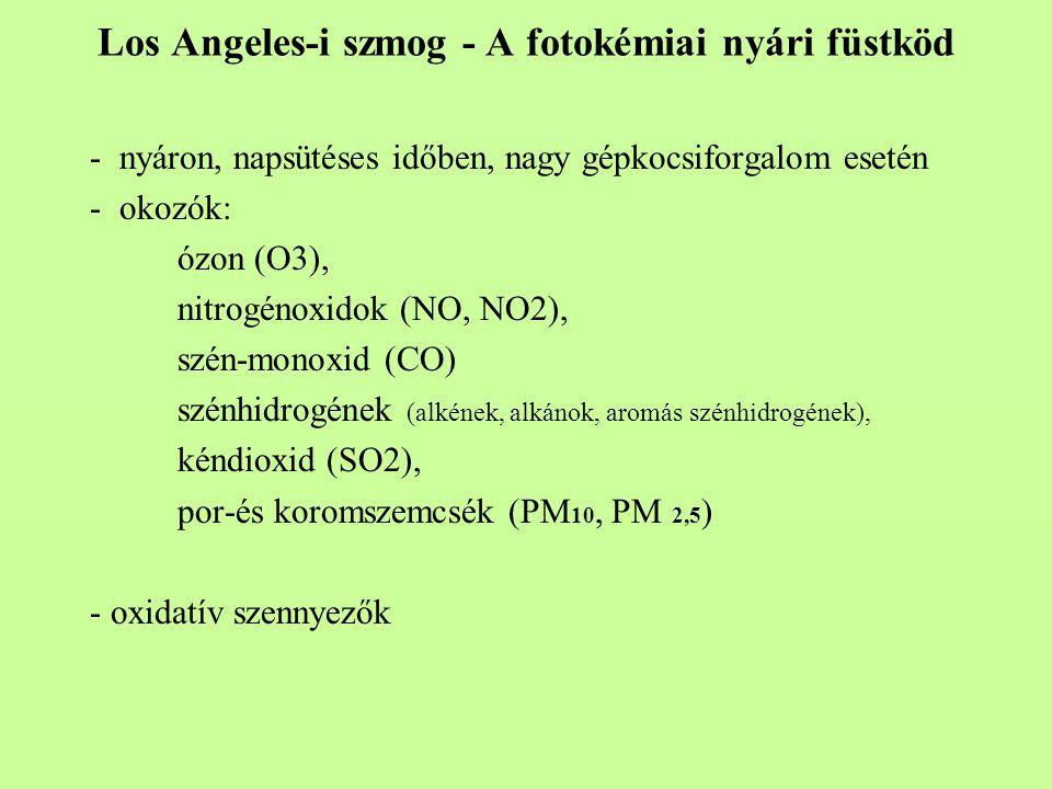 Los Angeles-i szmog - A fotokémiai nyári füstköd - nyáron, napsütéses időben, nagy gépkocsiforgalom esetén - okozók: ózon (O3), nitrogénoxidok (NO, NO2), szén-monoxid (CO) szénhidrogének (alkének, alkánok, aromás szénhidrogének), kéndioxid (SO2), por-és koromszemcsék (PM 10, PM 2,5 ) - oxidatív szennyezők