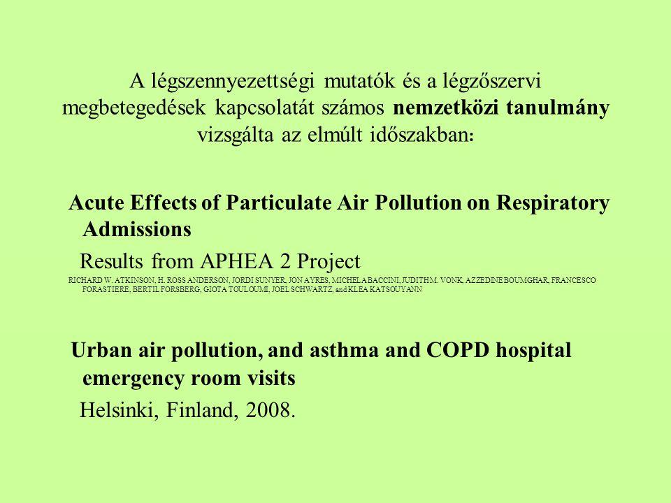 A légszennyezettségi mutatók és a légzőszervi megbetegedések kapcsolatát számos nemzetközi tanulmány vizsgálta az elmúlt időszakban : Acute Effects of Particulate Air Pollution on Respiratory Admissions Results from APHEA 2 Project RICHARD W.