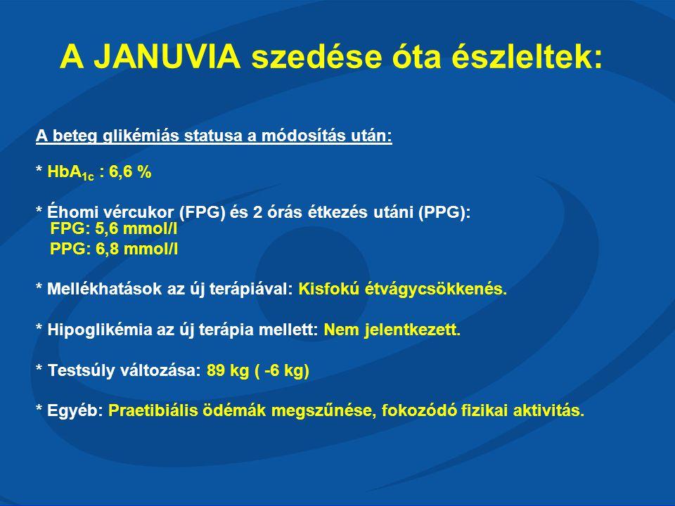 A JANUVIA szedése óta észleltek: A beteg glikémiás statusa a módosítás után: * HbA 1c : 6,6 % * Éhomi vércukor (FPG) és 2 órás étkezés utáni (PPG): FP