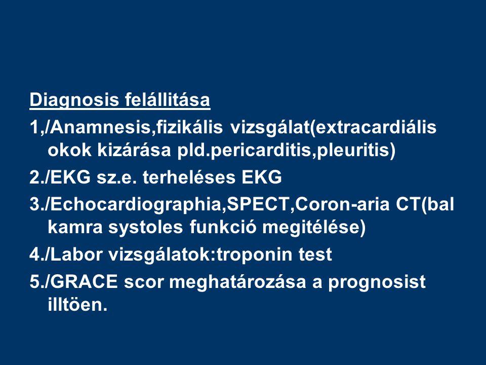 Diagnosis felállitása 1,/Anamnesis,fizikális vizsgálat(extracardiális okok kizárása pld.pericarditis,pleuritis) 2./EKG sz.e.