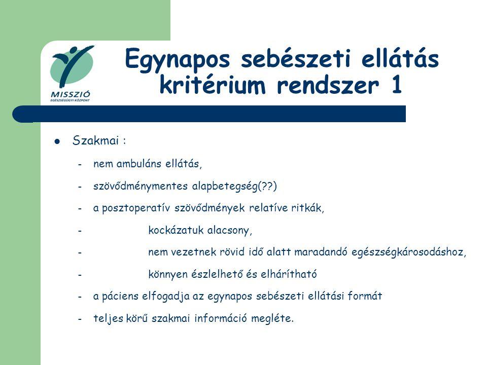 Egynapos sebészeti ellátás kritérium rendszer 1 Szakmai : – nem ambuláns ellátás, – szövődménymentes alapbetegség(??) – a posztoperatív szövődmények r