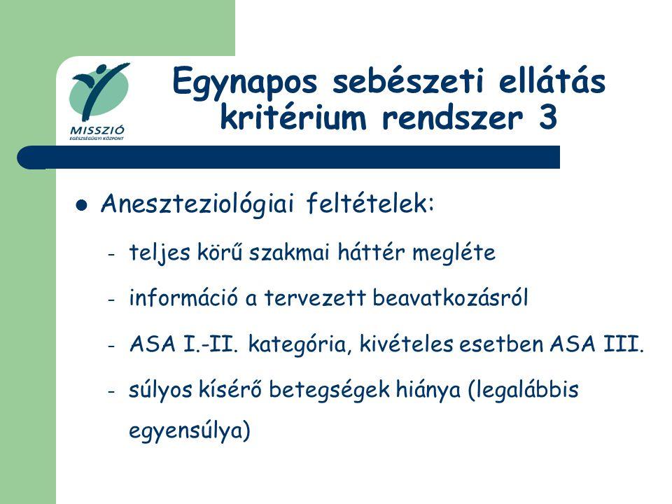 Egynapos sebészeti ellátás kritérium rendszer 3 Aneszteziológiai feltételek: – teljes körű szakmai háttér megléte – információ a tervezett beavatkozás