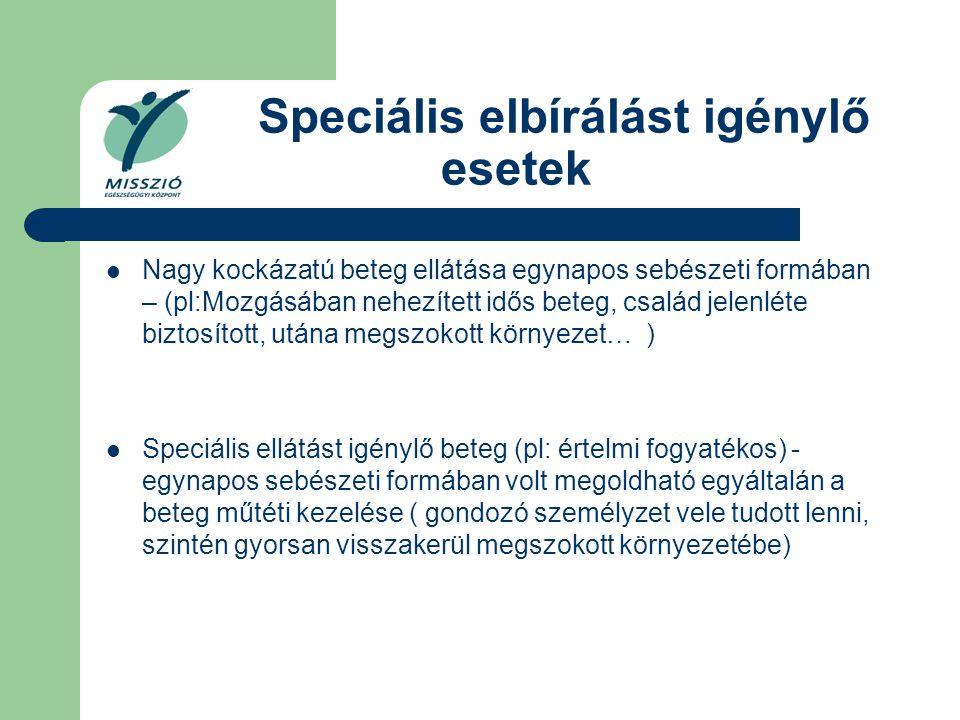 Speciális elbírálást igénylő esetek Nagy kockázatú beteg ellátása egynapos sebészeti formában – (pl:Mozgásában nehezített idős beteg, család jelenléte