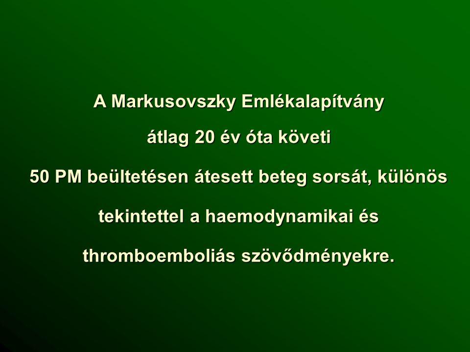 A Markusovszky Emlékalapítvány átlag 20 év óta követi 50 PM beültetésen átesett beteg sorsát, különös tekintettel a haemodynamikai és thromboemboliás szövődményekre.