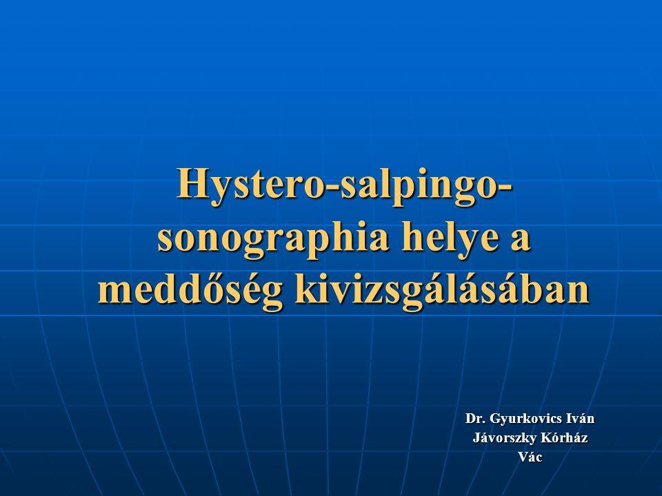 A laparoscopia korlátai Invazív beavatkozás Invazív beavatkozás Altatást igényel Altatást igényel Kórházi elhelyezés szükséges Kórházi elhelyezés szükséges Jelentősen hosszabb ápolási idő Jelentősen hosszabb ápolási idő A HSG-nél is magasabb költségek A HSG-nél is magasabb költségek A hasi erek és belek sérülésének kockázata A hasi erek és belek sérülésének kockázata