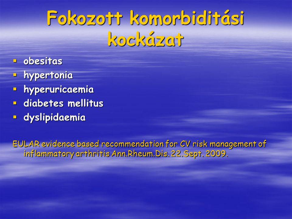 Fokozott komorbiditási kockázat  obesitas  hypertonia  hyperuricaemia  diabetes mellitus  dyslipidaemia EULAR evidence based recommendation for C