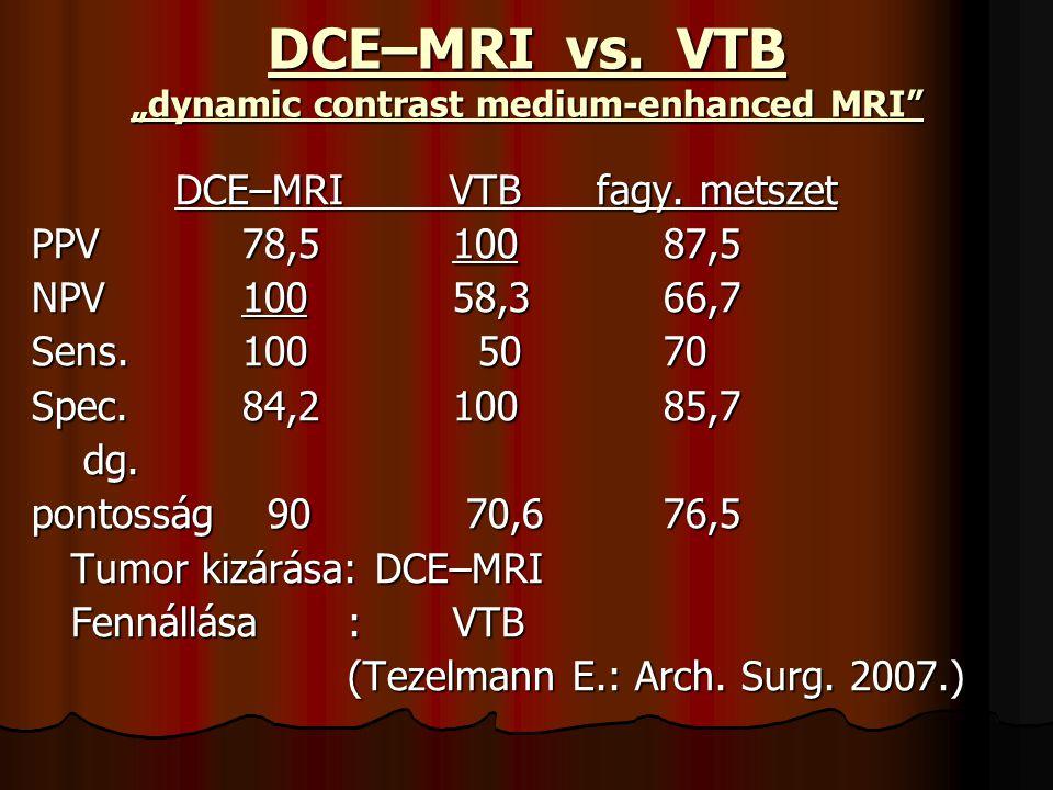 "DCE–MRI vs. VTB ""dynamic contrast medium-enhanced MRI"" DCE–MRI VTB fagy. metszet DCE–MRI VTB fagy. metszet PPV 78,510087,5 NPV 10058,366,7 Sens.100 50"
