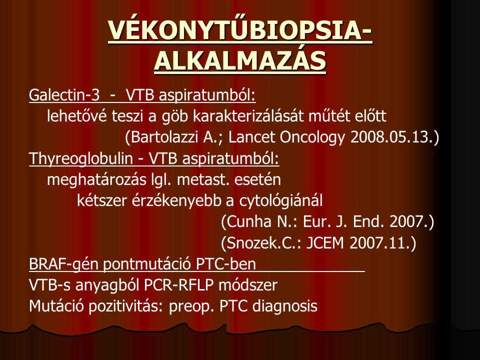 VÉKONYTŰBIOPSIA- ALKALMAZÁS Galectin-3 - VTB aspiratumból: lehetővé teszi a göb karakterizálását műtét előtt (Bartolazzi A.; Lancet Oncology 2008.05.1