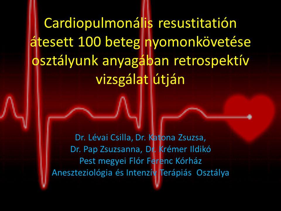 Cardiopulmonális resustitatión átesett 100 beteg nyomonkövetése osztályunk anyagában retrospektív vizsgálat útján Dr. Lévai Csilla, Dr. Katona Zsuzsa,