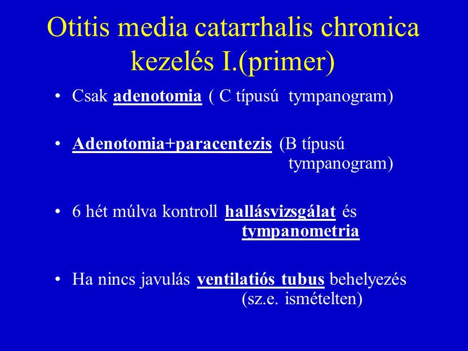 Otitis media catarrhalis chronica kezelés I.(primer) Csak adenotomia ( C típusú tympanogram) Adenotomia+paracentezis (B típusú tympanogram) 6 hét múlva kontroll hallásvizsgálat és tympanometria Ha nincs javulás ventilatiós tubus behelyezés (sz.e.