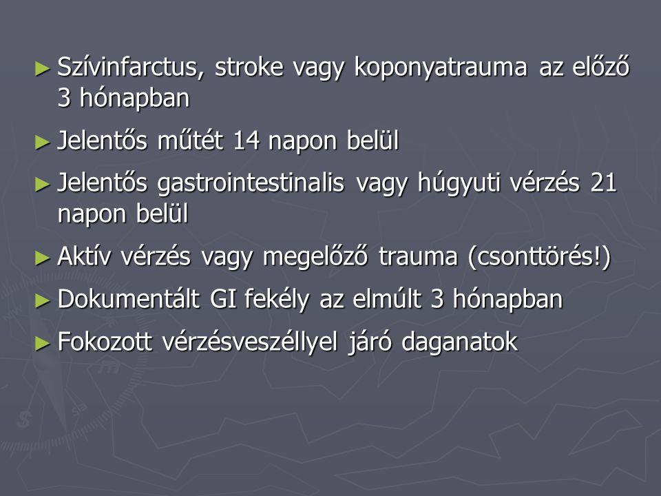 ► Szívinfarctus, stroke vagy koponyatrauma az előző 3 hónapban ► Jelentős műtét 14 napon belül ► Jelentős gastrointestinalis vagy húgyuti vérzés 21 napon belül ► Aktív vérzés vagy megelőző trauma (csonttörés!) ► Dokumentált GI fekély az elmúlt 3 hónapban ► Fokozott vérzésveszéllyel járó daganatok