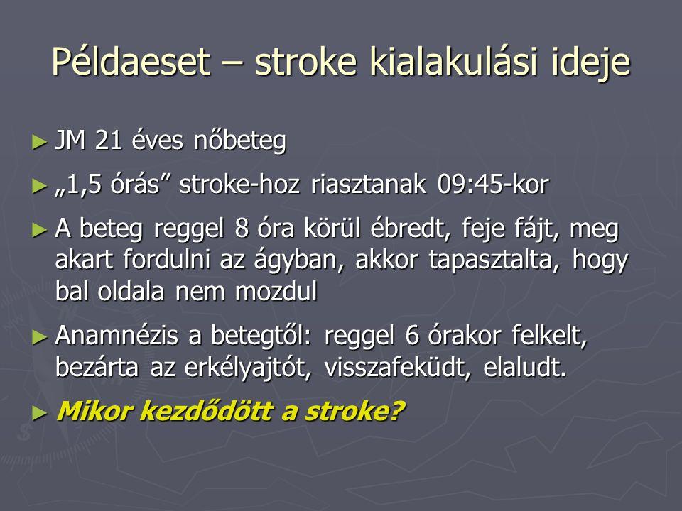 """Példaeset – stroke kialakulási ideje ► JM 21 éves nőbeteg ► """"1,5 órás"""" stroke-hoz riasztanak 09:45-kor ► A beteg reggel 8 óra körül ébredt, feje fájt,"""