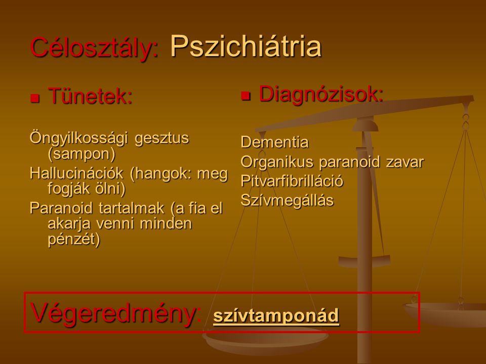 Célosztály: Pszichiátria Tünetek: Tünetek:Delírium Rossz általános állapot Kiszáradás Légzési elégtelenség Diagnózisok: Cardiorespiratoricus elégtelenség Nem alkoholhoz kapcsolódó delírium Cc.
