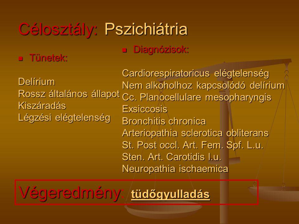 Célosztály: Pszichiátria Tünetek: Tünetek:Delírium Rossz általános állapot Kiszáradás Légzési elégtelenség Diagnózisok: Cardiorespiratoricus elégtelen