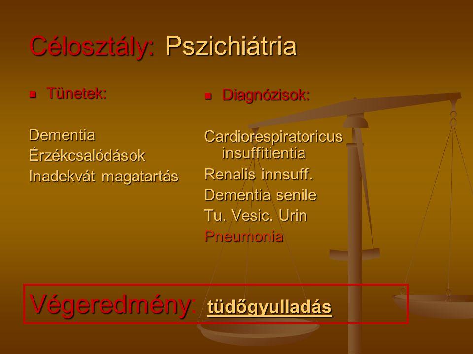 Célosztály: Neurológia Tünetek: Tünetek: Bizonytalan jellegű beszédzavar Beszéd elakadás Torokfájdalom Diagnózisok: Bronchopneumonia Jobb kamra elégtelenség Atrophia cerebri Arteriosclerosis univ.