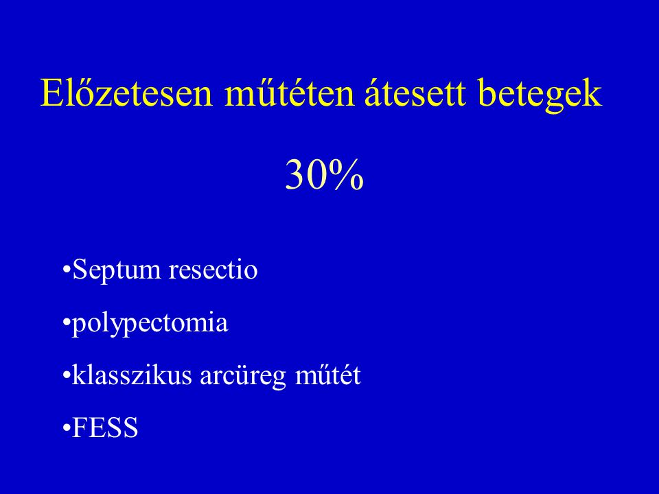 Előzetesen műtéten átesett betegek 30% Septum resectio polypectomia klasszikus arcüreg műtét FESS